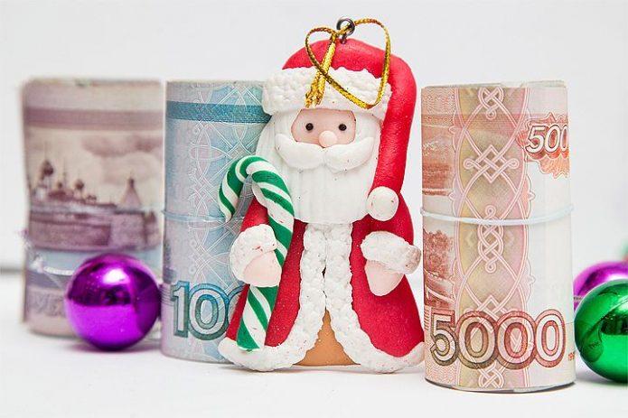 Игрушечный Дед Мороз и деньги