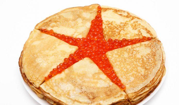 Торт из блинов и красной икры