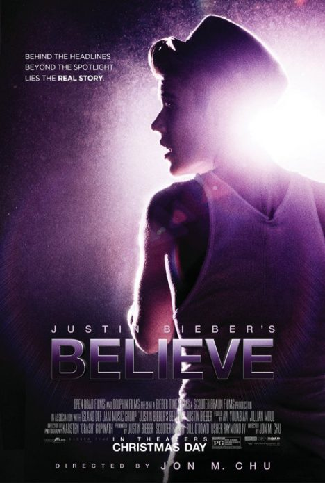 Обложка документального фильма о Джастине Бибере