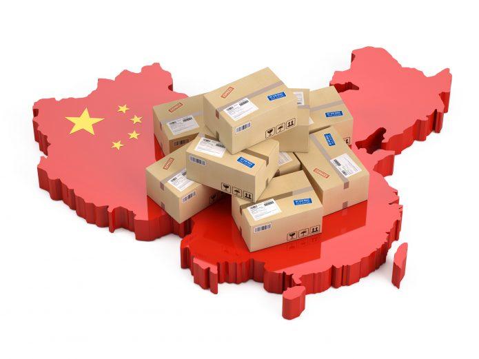 Посылки на карте Китая