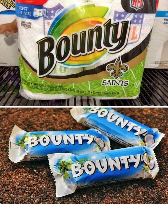Туалетная бумага и шоколадный батончик «Bounty»