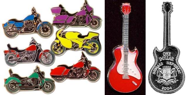 Монеты в виде гитар и мотоциклов