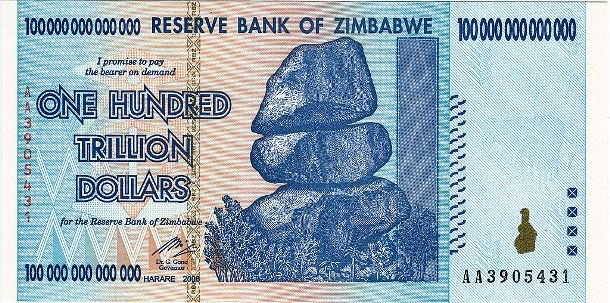 Банкнота номиналом в 100 триллионов долларов